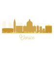 Venice City skyline golden silhouette vector image