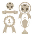 soccer icon ball ribbon award cu vector image