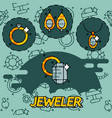 jeweler flat icons set vector image