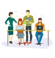 Office workers flat set with business process vector image