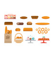 set of bakery products and elite bread sweets vector image