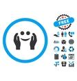 Smile Care Flat Icon with Bonus vector image