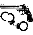 handcuffs and pistol vector image vector image