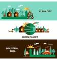 Flat Horizontal Ecology Banners Set vector image