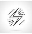 Black lightning simple line icon vector image