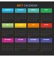 Calendar Template for 2017 on Dark Background vector image