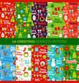 christmas holiday seamless patterns vector image