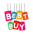 colorful hanging cardboard tags - best buy vector image