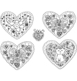 Decorated black and white retro hearts vector image