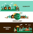 Flat Horizontal Ecology Banners Set vector image
