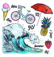 icons set of summer traveling vector image
