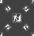 rock climbing sign Seamless pattern on a gray vector image