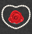 Red rose with heart made in pearl vector image vector image