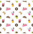 pattern with cupcakes and pieces of cake vector image
