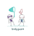 Bodyguard bird catches the butterfly net vector image