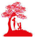 proposal wedding - couple silhouette vector image