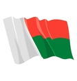 political waving flag of madagascar vector image vector image