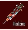 Syringe shaped health care or medicine icons vector image vector image