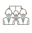 Connected cartoon people in suits and ties vector image