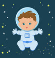 cute sitting baby boy astronaut in a spacecuit and vector image