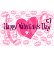 Romantic Card with Heart consist of Prints of Lips vector image