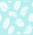 royal palm tree leaves seamless pattern white blue vector image