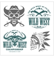 Set of vintage cowboy emblems labels badges vector image