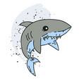 shark cartoon hand drawn image vector image