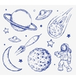Space doodle set elements vector image