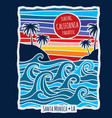 vintage summer california surfing t shirt print vector image
