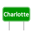 Charlotte green road sign vector image