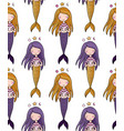 pattern with cute little mermaid siren sea theme vector image