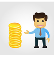 Business man cartoon with stack of gold vector image vector image