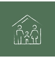 Family house icon drawn in chalk vector image