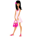 girl in a pink dress vector image