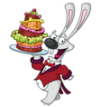 funny rabbit with cake vector image