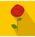Red rose icon in flat style vector image