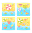 Summer square banners with flat travel elements vector image
