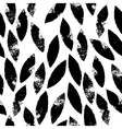 Black and white leaves grunge seamless pattern vector image