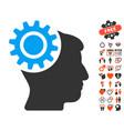 brain gear icon with love bonus vector image