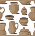 rustic ceramic utensils pattern vector image