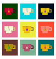 set pixel icons cup of tea vector image