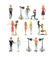 Flat icons set of fashion model people vector image