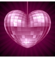 Disco Heart Purple mirror disco ball vector image vector image