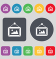 picture icon sign A set of 12 colored buttons Flat vector image