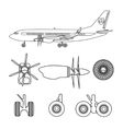 Outline silhouettes aircraft parts vector image