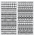 Hand drawn seamless ethnic line border set vector image
