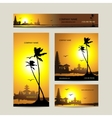 Business cards set with tropical sunset for your vector image