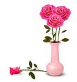 Holiday background with pink roses in a vase vector image