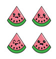 kawaii watermelon diferents faces icon vector image